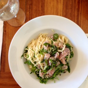 Angel hair pasta ẃ raw tuna, rocket, parmesan & chilli oil at Bondi Trattoria