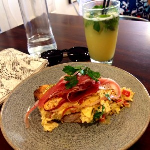 Scrambled eggs and the pineapple, ginger, mint and honey smash at Kettle & Tin