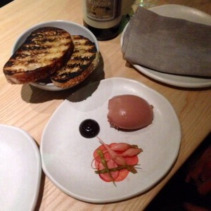 Foie gras and chicken liver parfait with radish and Iranian plum